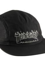 THRASHER THRASHER FLAME OUTLINE 5 PANEL HAT BLACK