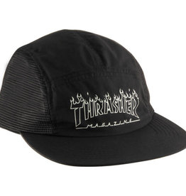 THRASHER THRASHER FLAME OUTLINE 5 PANEL HAT BLACK