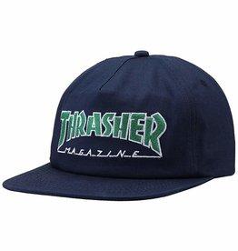 THRASHER THRASHER OUTLINED SNAPBACK CAP HAT NAVY