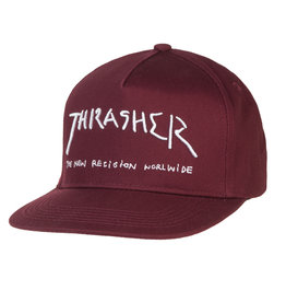 THRASHER THRASHER NEW RELIGION SNAPBACK CAP HAT BURGUNDY