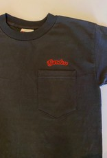 GARDEN GARDEN EMBROIDERED POCKET TEE BLACK W/RED