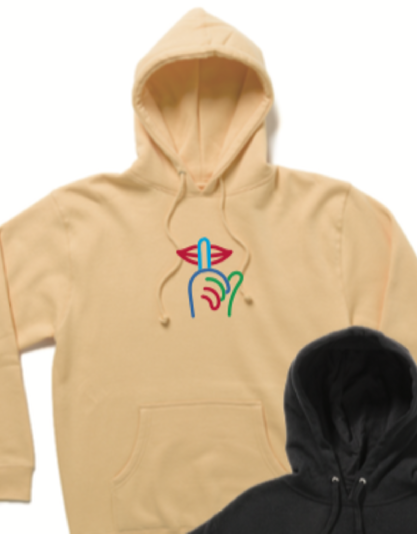 THE QUIET LIFE THE QUIET LIFE SHH EMBROIDERED PULLOVER HOODIE