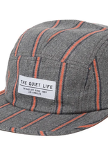 THE QUIET LIFE THE QUIET LIFE STRIPED FLANNEL 5 PANEL CAMPER HAT GREY ORANGE