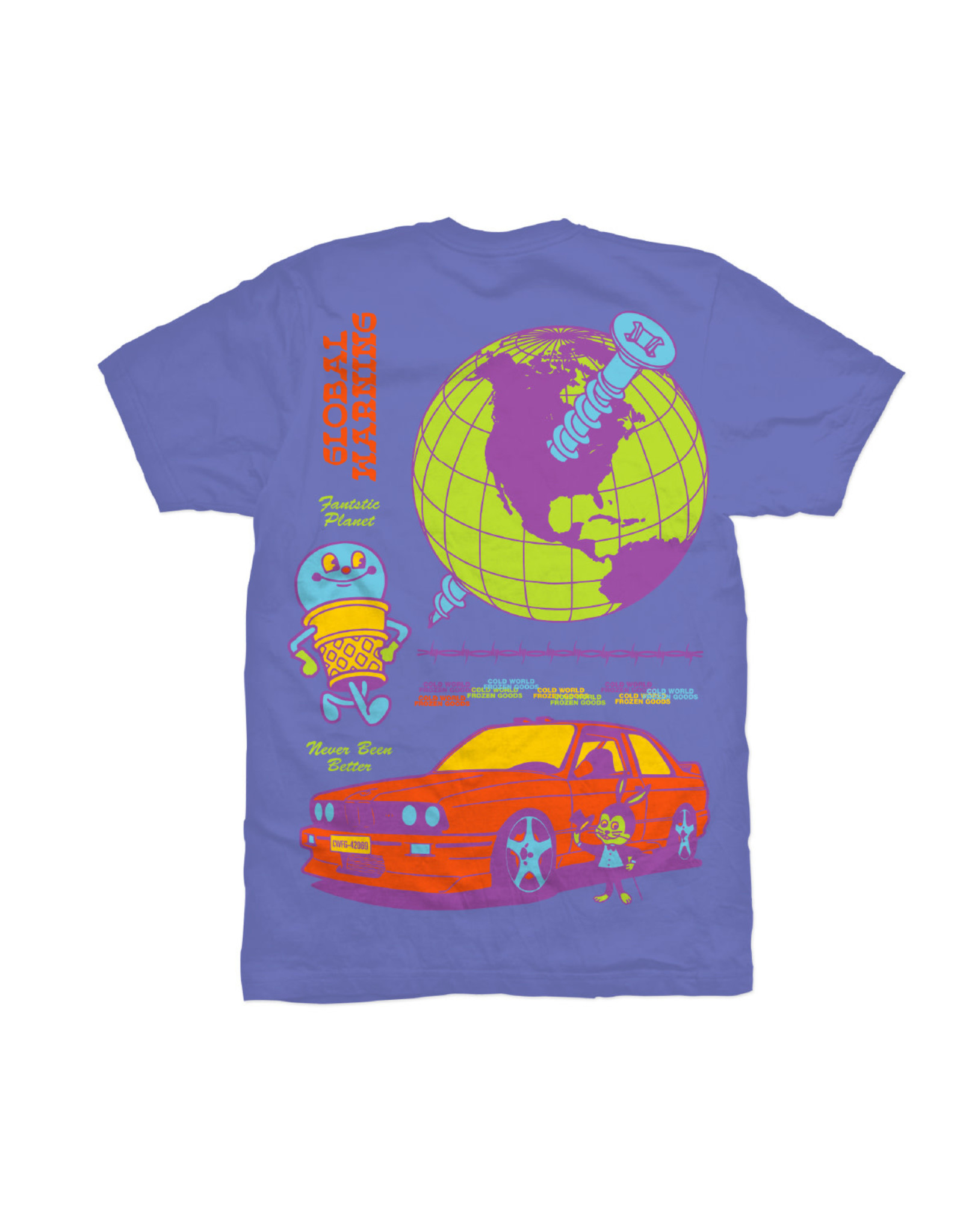 COLD WORLD COLD WORLD FROZEN GOODS GLOBAL WARNING TEE SHIRT