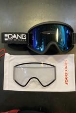 DANG DANG & GARDEN FRAME GOGGLE BLACK W/ ICE BLUE LENSE BLACK STRAP BONUS CLEAR LENS