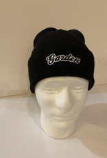 GARDEN GARDEN EMBROIDERED FOLD BEANIE BLACK W/WHITE