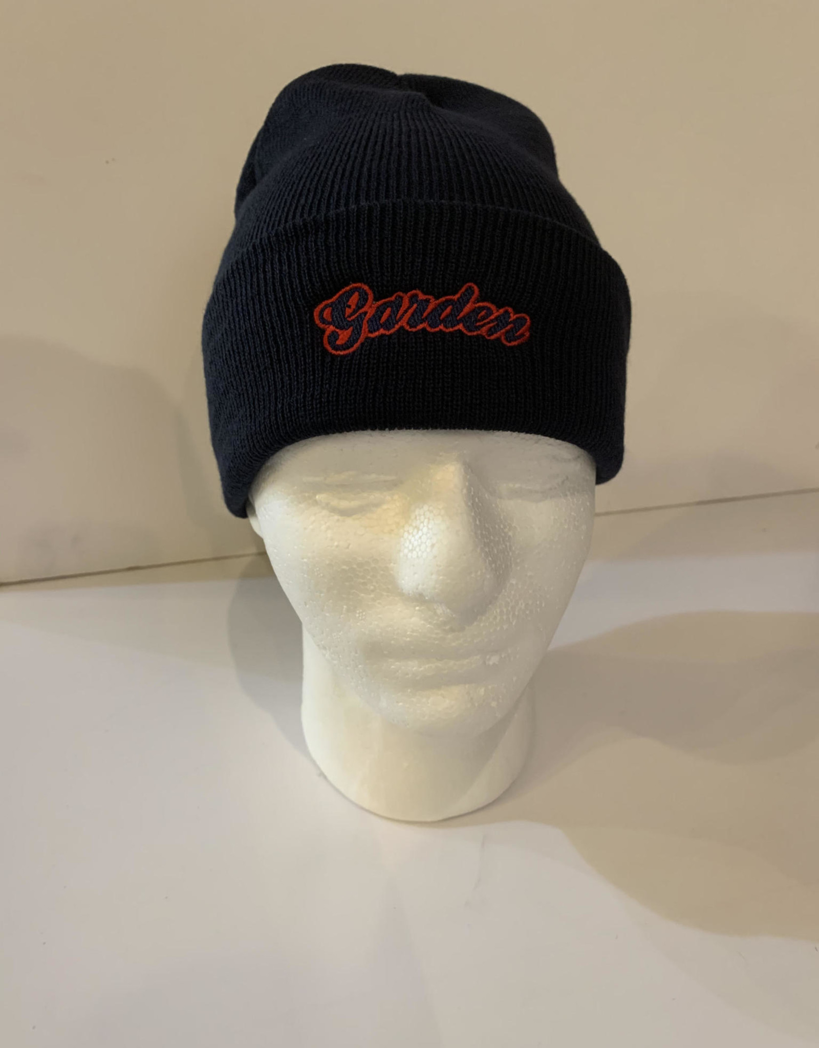 GARDEN GARDEN EMBROIDERED FOLD BEANIE NAVY W/RED