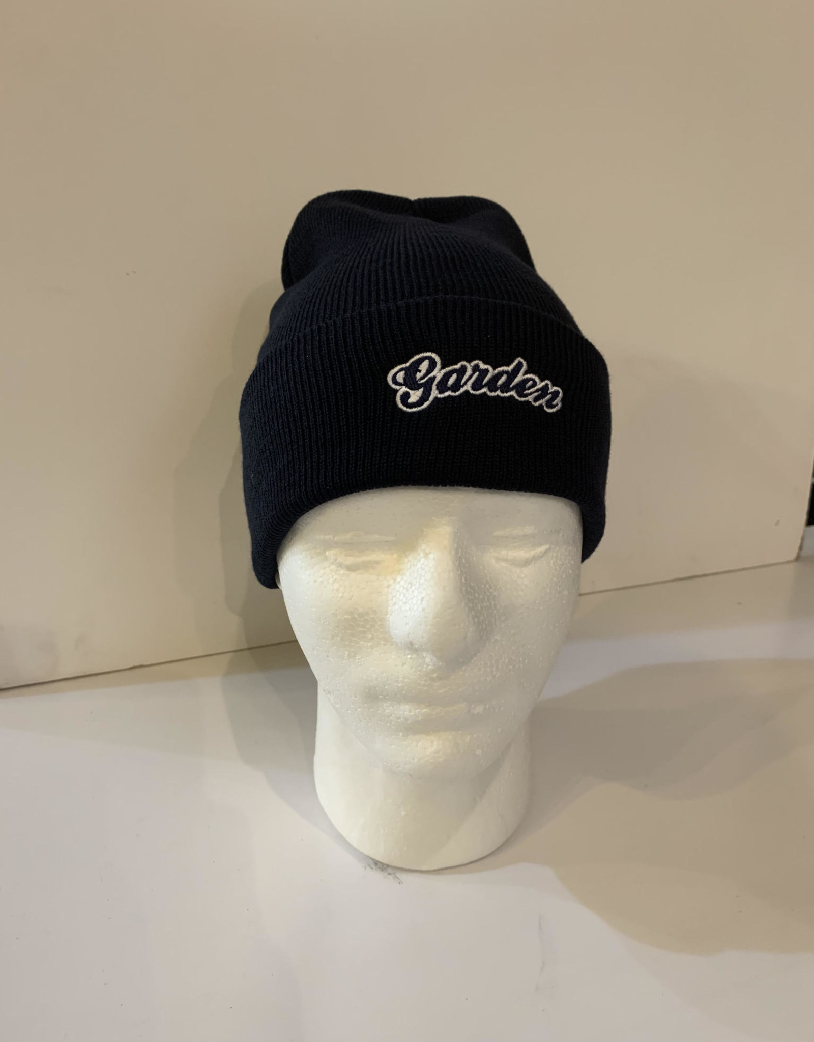 GARDEN GARDEN EMBROIDERED FOLD BEANIE NAVY W/WHITE