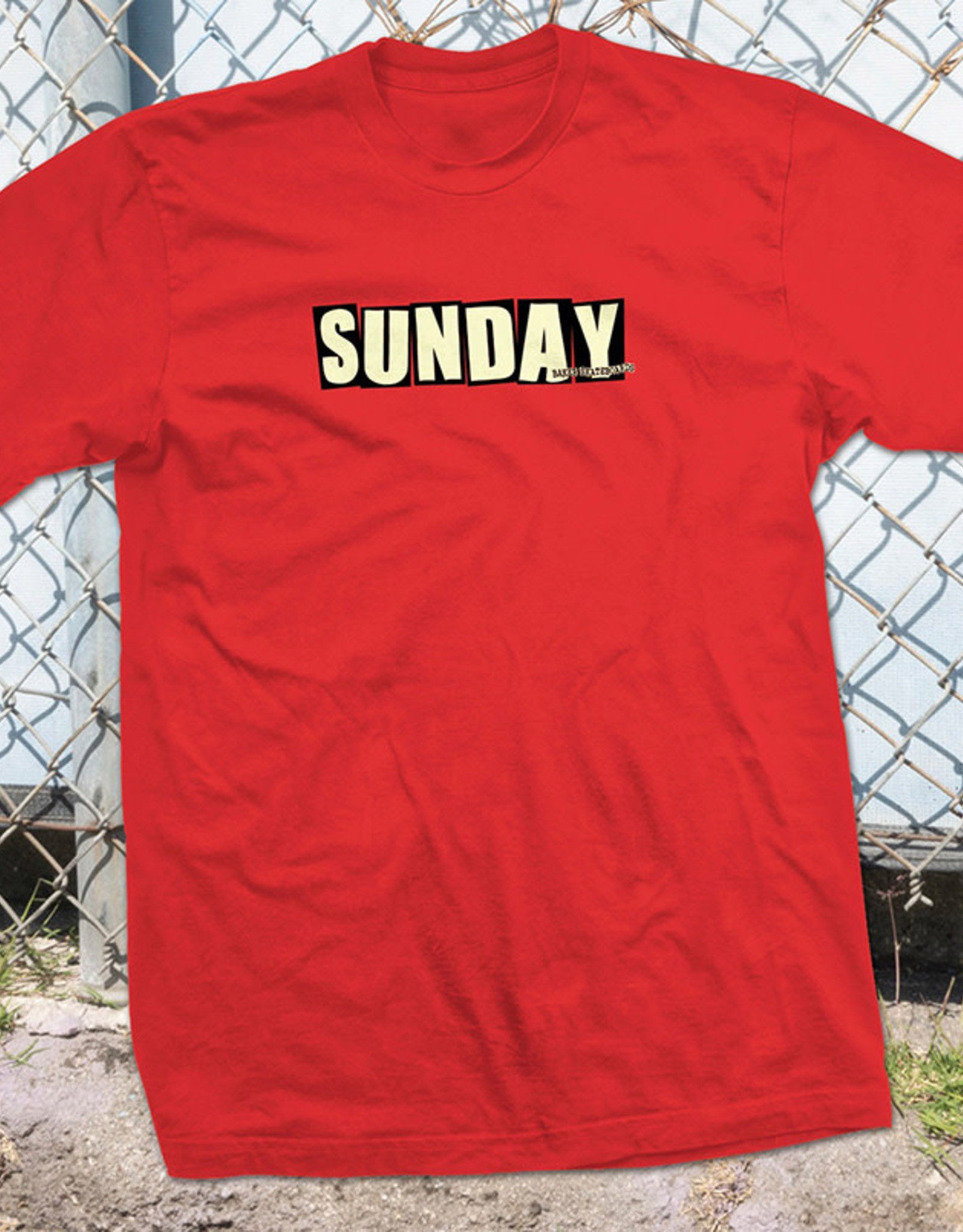 SUNDAY SUNDAY X BAKER SKATEBOARDS TEE SHIRT RED