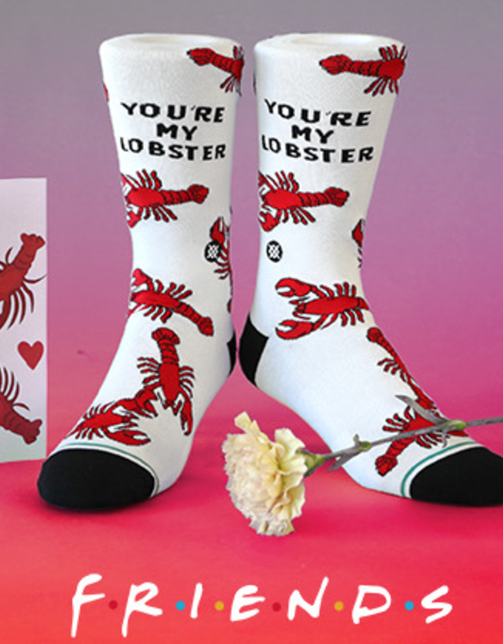 STANCE STANCE YOU'RE MY LOBSTER SOCKS FRIENDS MENS LARGE WHITE