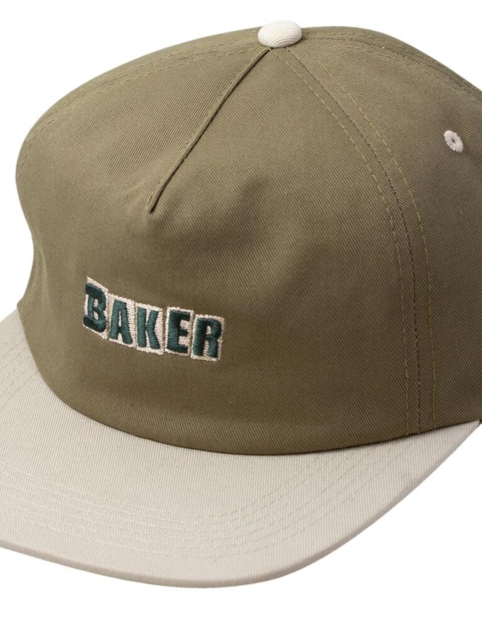 BAKER BAKER BRAND LOGO SNAPBACK HAT GREEN TAN