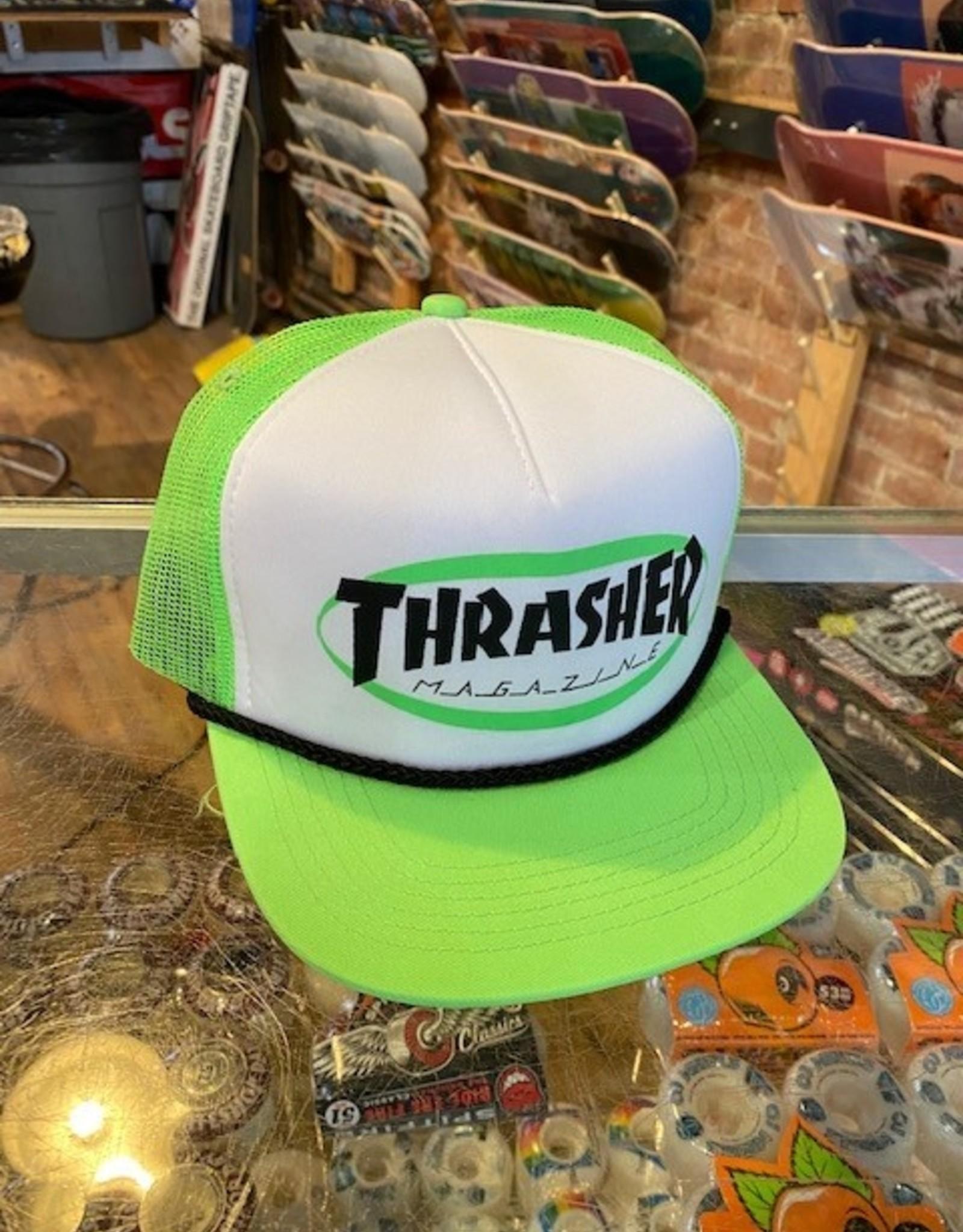 THRASHER THRASHER ELLIPSE MAG LOGO NEON GREEN TURCKER HAT