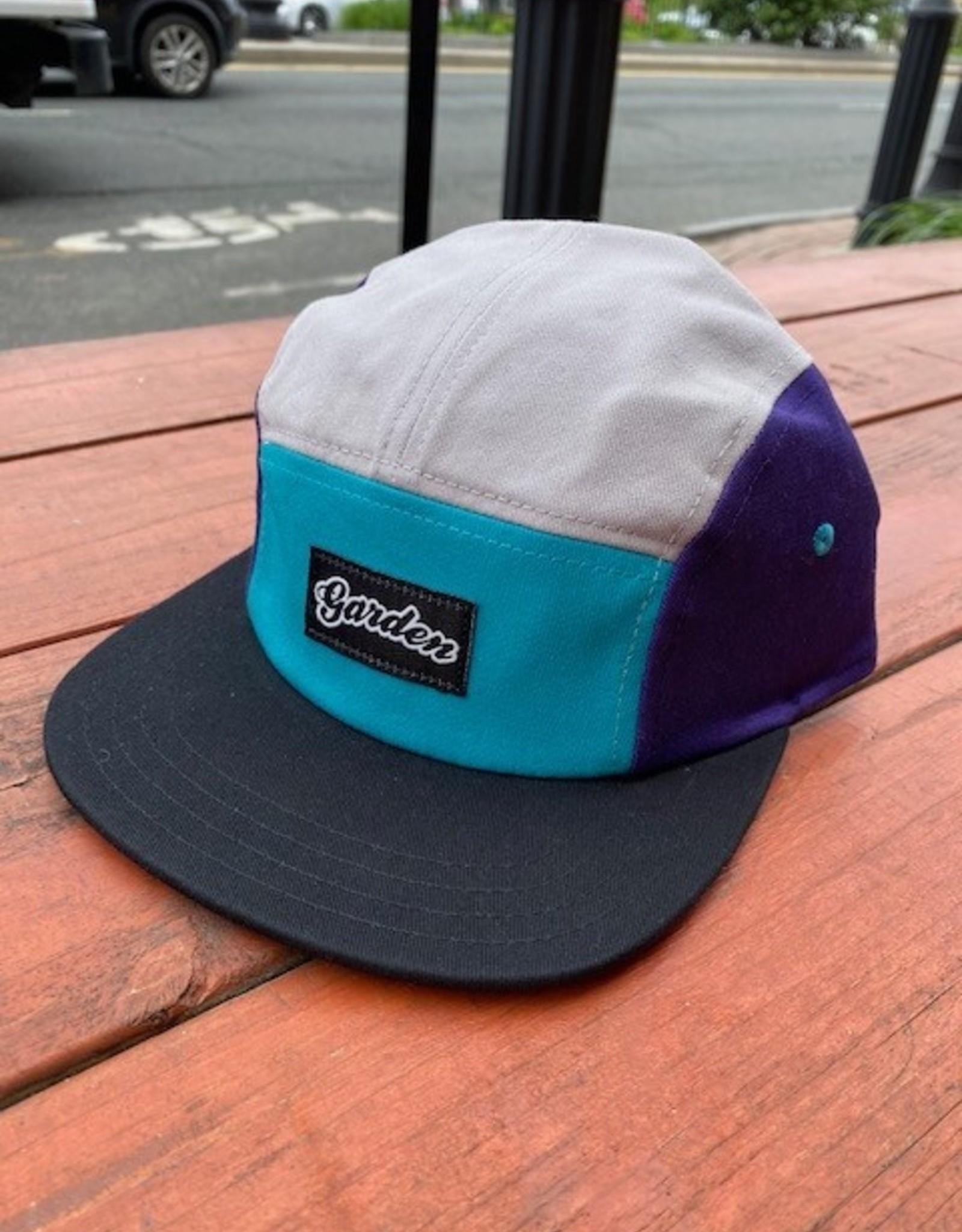 GARDEN GARDEN 5 PANEL CAMPER HAT TEAL/PURPLE/GREY CLIPBACK