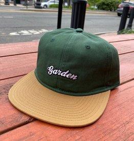 GARDEN GARDEN UNSTRUCTURED 6 PANEL SNAPBACK HAT FOREST GREEN TAN