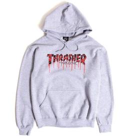 THRASHER THRASHER BLOOD DRIP P/O HOODIE GREY