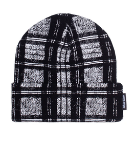 FUCKING AWESOME FUCKING AWESOME DISTORTED PLAID CUFF BEANIE BLACK WHITE