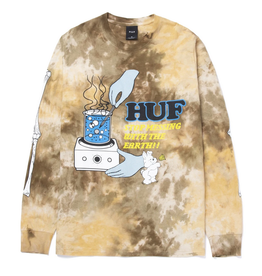 HUF HUF MESS TIE DYE TEE L/S BROWN
