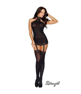 "Dreamgirl ""Moscow"" Sheer Halter Garter Dress OS"