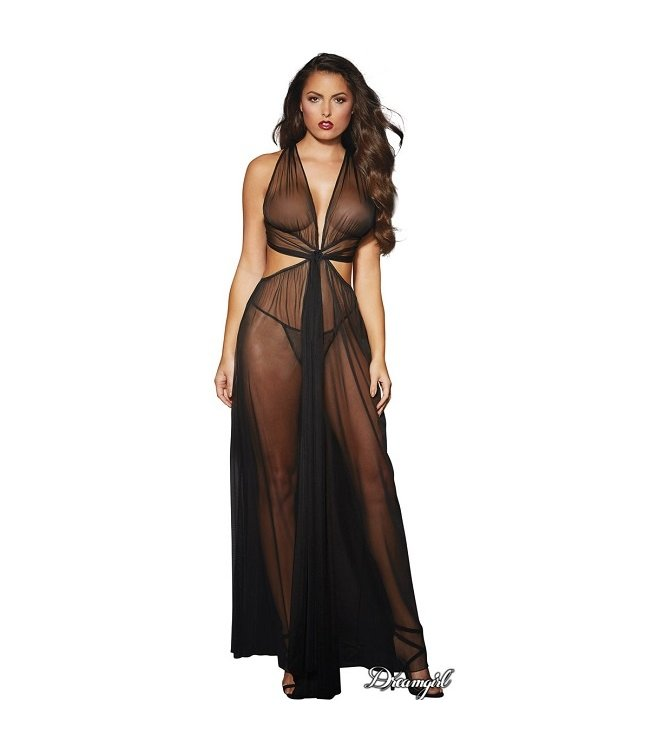 Dreamgirl Dreamgirl Sheer Mesh Grecian-Style Gown OS
