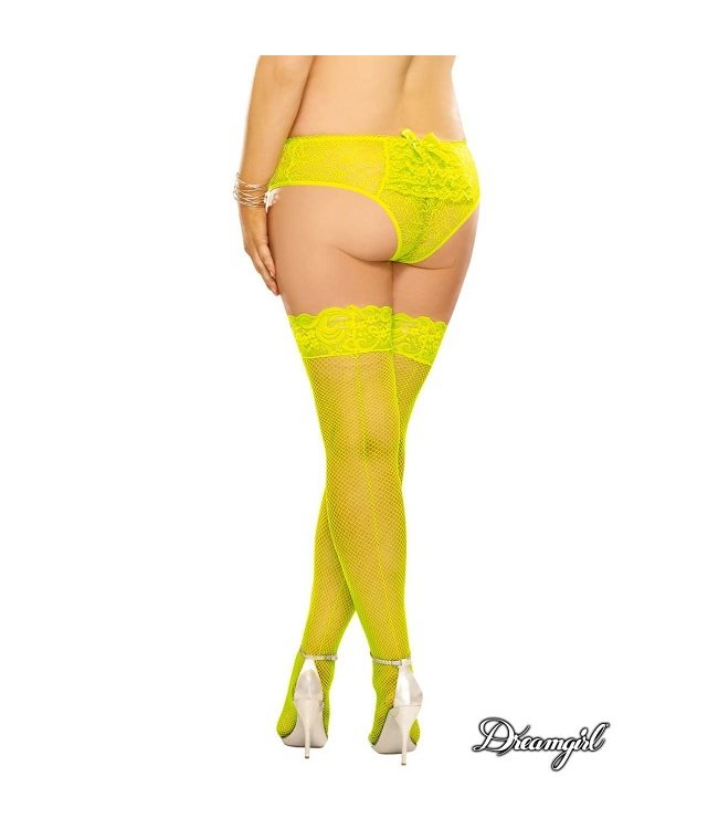 """Dreamgirl Dreamgirl """"Milan"""" Neon Fishnet Stocking with Back Seam OSX"""