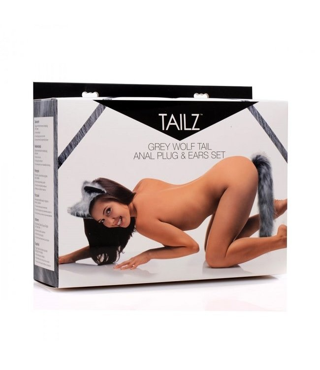 Tailz Grey Wolf Tail Plug and Ears