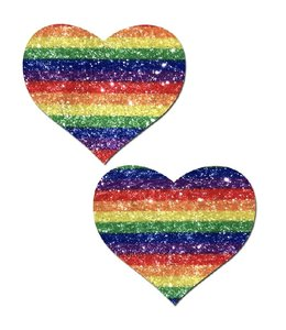 Pastease Pastease Glittering Striped Rainbow Heart Pasties