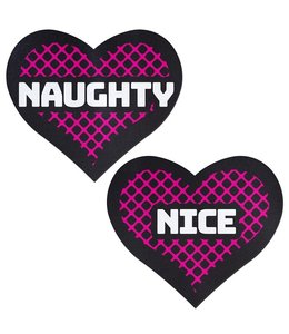 Pastease Pastease Black and Pink 'NAUGHTY' and 'NICE' Heart Pasties