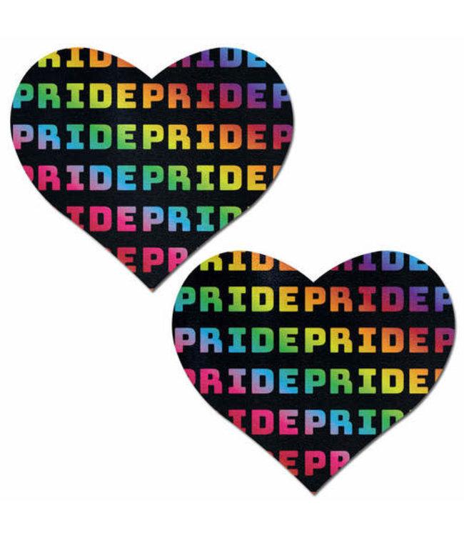 Pastease Pastease Rainbow 'PRIDE' Pattern on Black Heart Pasties