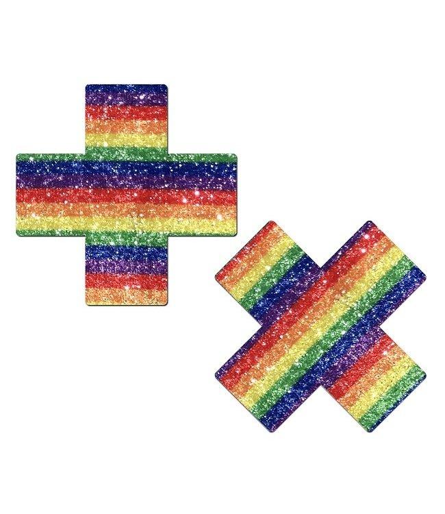 Pastease Pastease Sparkling Rainbow Cross Nipple Pasties