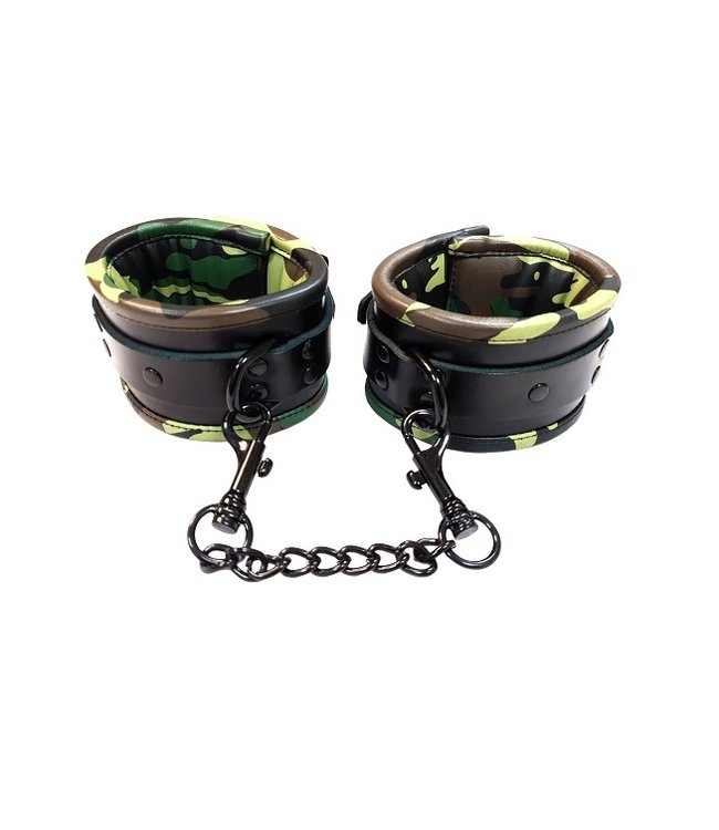Rouge Rouge Padded Leather Ankle Cuffs Camo and Black