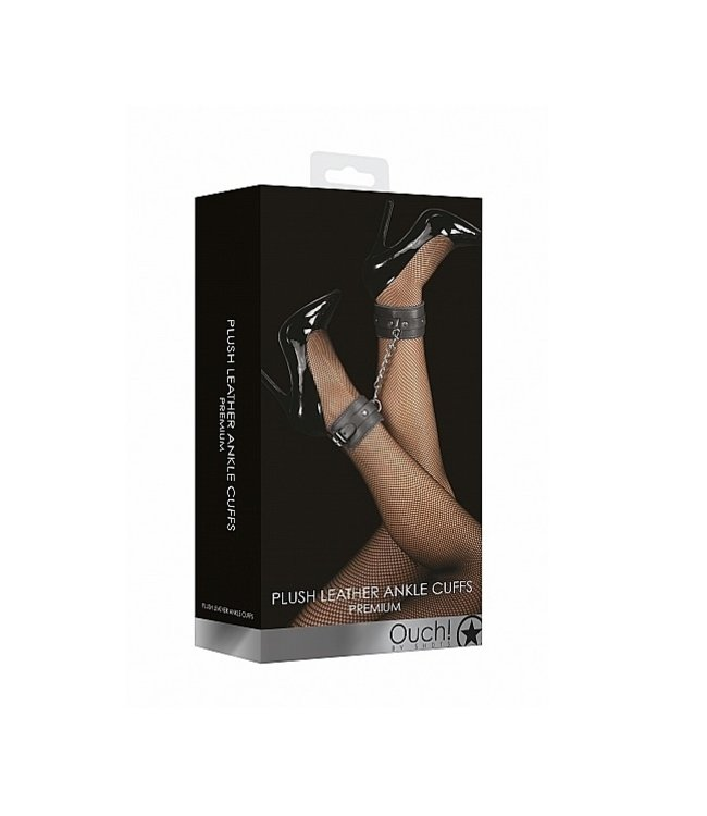 Shots America Ouch! Plush Leather Ankle Cuffs