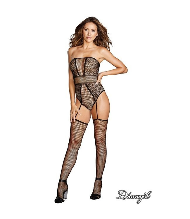 Dreamgirl Geometric Fishnet Bodystocking OS