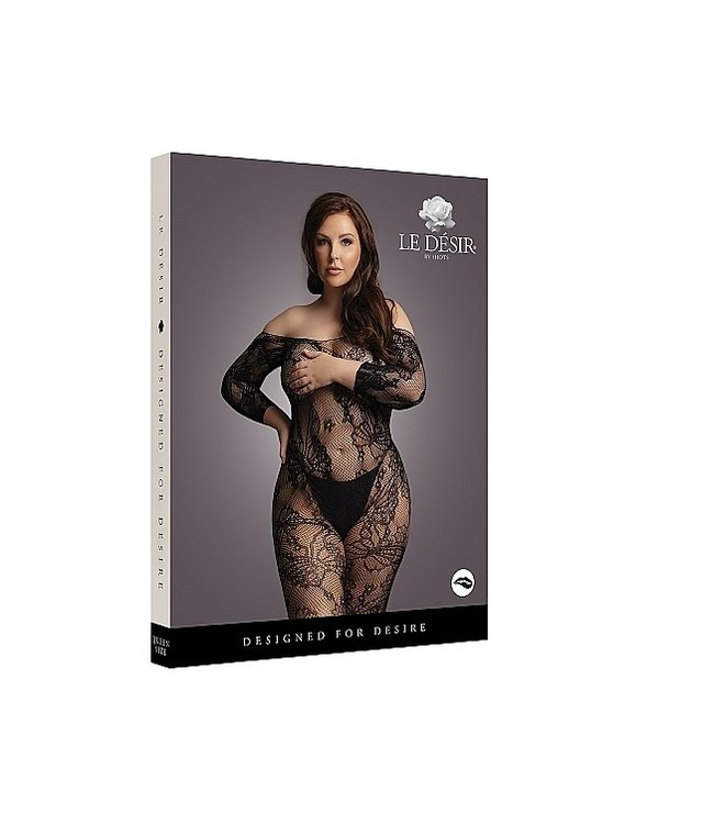 LE DÉSIR by Shots America Le Desir Lace Sleeved Bodystocking - Black - OSX