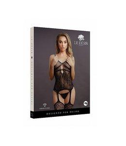 LE DÉSIR by Shots America Le Desir Suspender Rhinestone Bodystocking - Black