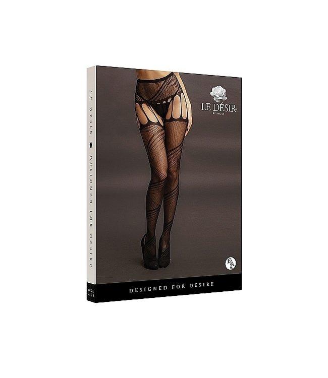 LE DÉSIR by Shots America Le Desir Crotchless Cut-Out Pantyhose - Black