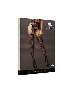 LE DÉSIR by Shots America Le Desir Suspender Leopard Pantyhose - Black