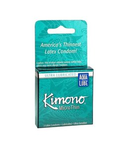 Kimono MicroThin Plus Aqua Lube Condom 3 Pack
