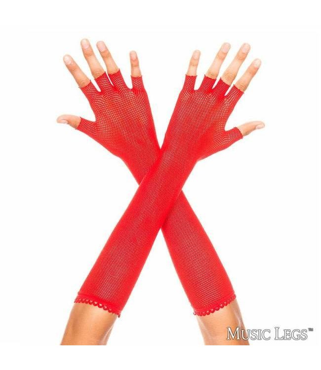Music Legs Music Legs Fingerless Fishnet Elbow Length Gloves