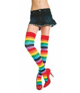 Music Legs Acrylic Rainbow Striped Thigh Hi Socks OS