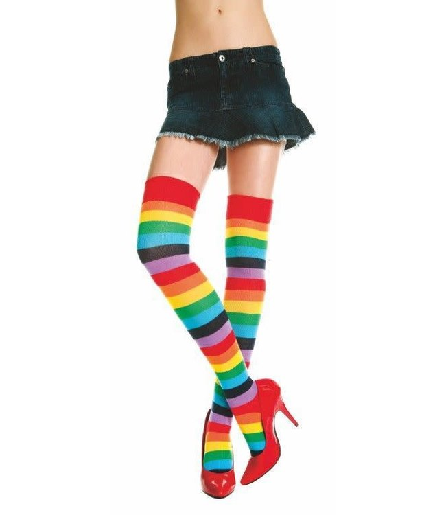 Music Legs Music Legs Acrylic Rainbow Striped Thigh Hi Socks OS