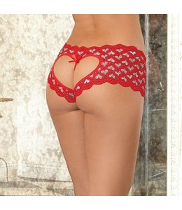 "Dreamgirl ""Heart Me"" Crotchless Open Bum Boyshort"