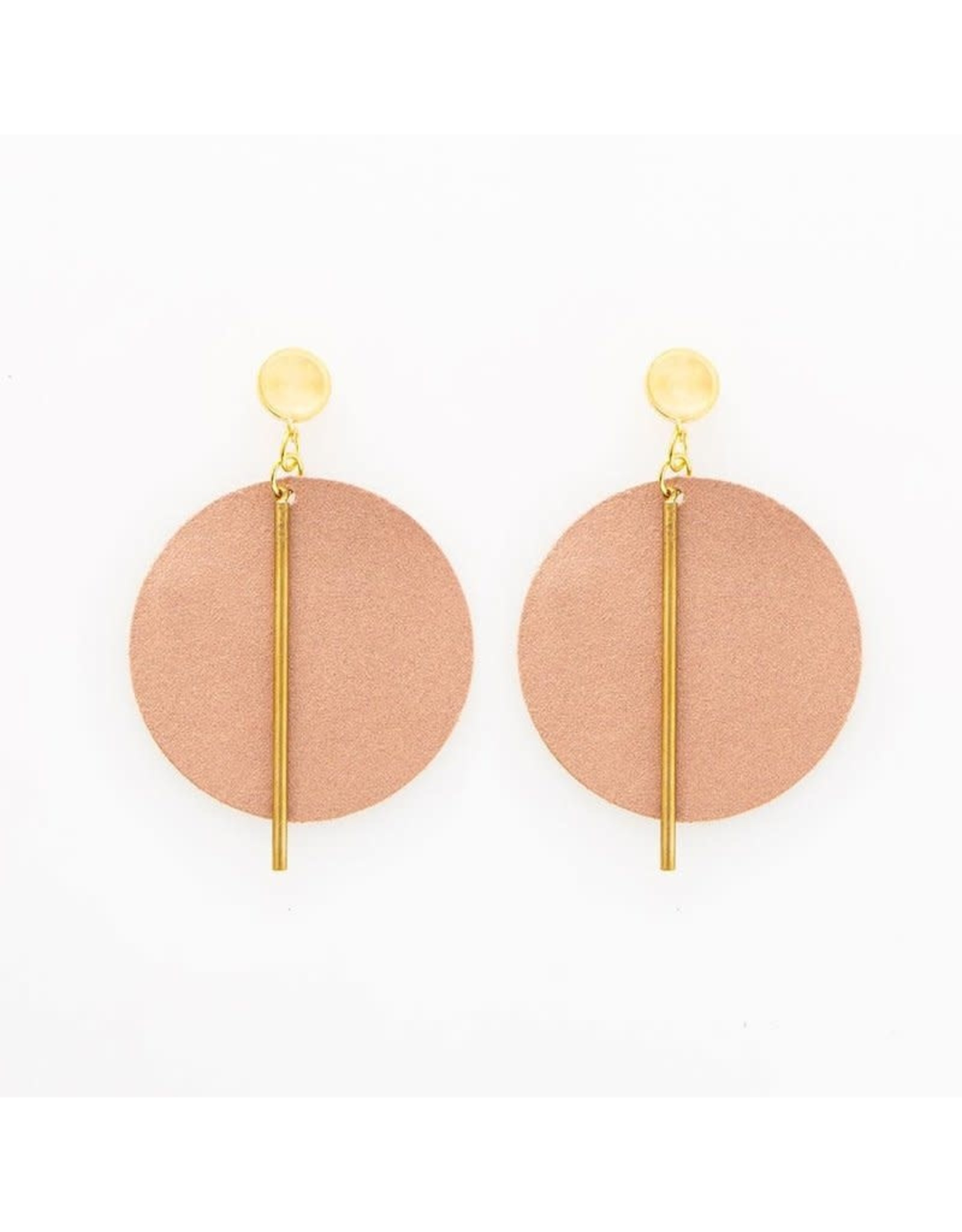 INK & ALLOY INK & ALLOY ROSE GOLD LEATHER CIRCLE EARRINGS LCER0419
