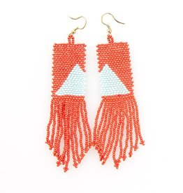INK & ALLOY INK & ALLOY TOMATO W/LIGHT BLUE TRIANGLE FRINGE EARRING SBER1601TO