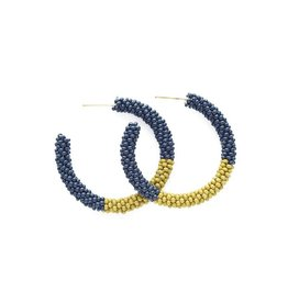 "INK & ALLOY INK & ALLOY NAVY CITRON COLOR BLOCK SMALL HOOP 1.25"" SBER1801NA"