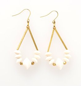 INK & ALLOY INK & ALLOY SAUCER WHITE WOOD & BRASS DANLGE EARRINGS WDER0106