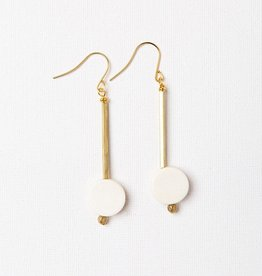 INK & ALLOY INK & ALLOY ROUND WHITE WOOD & BRASS STICK DANGLE EARRINGS WDER0102