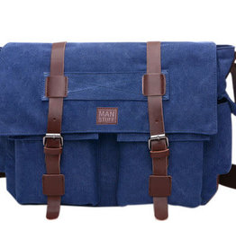 ABOUT FACE ABOUT FACE DARK BLUE CANVAS MESSENGER BAG