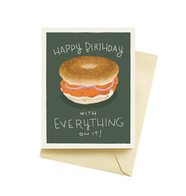 SELTZER HAPPY BIRTHDAY WITH EVERYTHING ON IT - BAGEL BIRTHDAY CARD