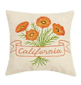 PEKING PILLOWS EMBROIDERED CALIFORNIA POPPY PILLOW