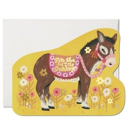 RED CAP CARDS PIN THE TAIL ON THE DONKEY BIRTHDAY CARD